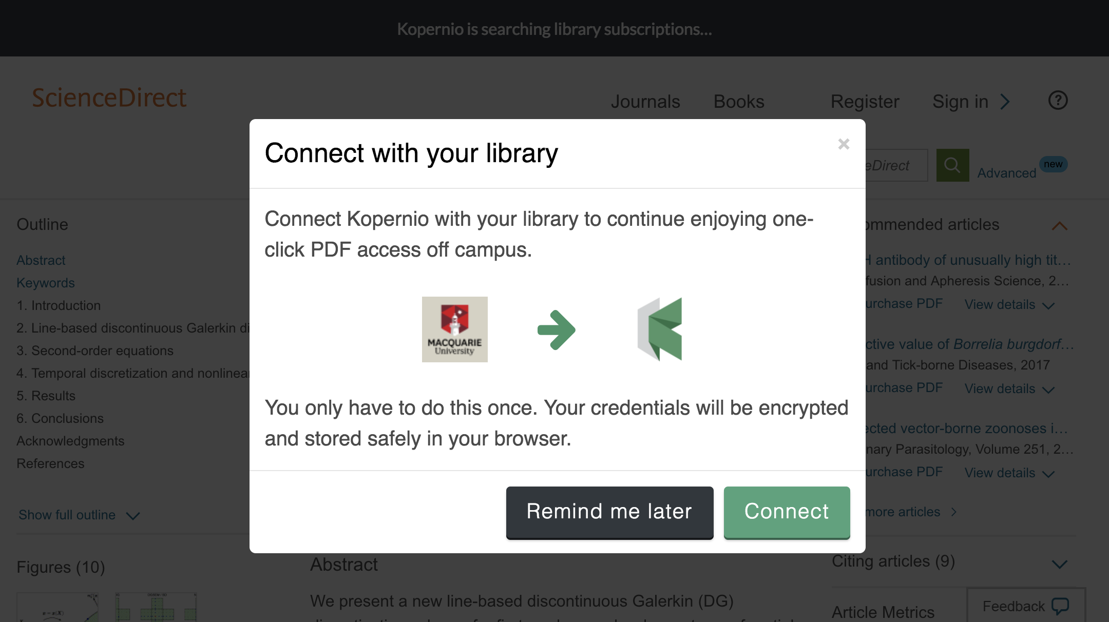 Connect to library prompt for off-campus access to Macquarie University e-resources.