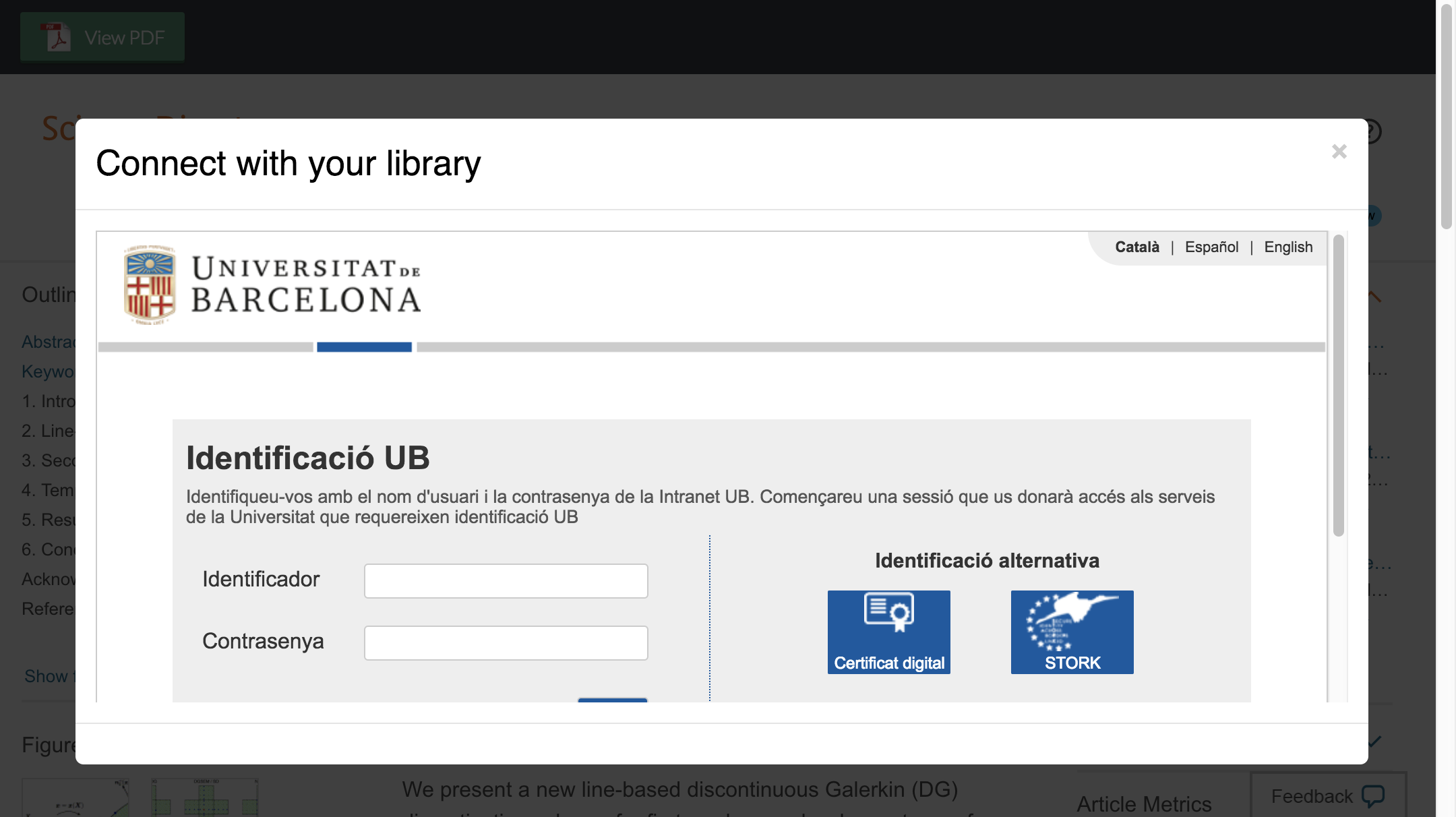 Enter University of Barcelona credentials to access journal subscriptions.