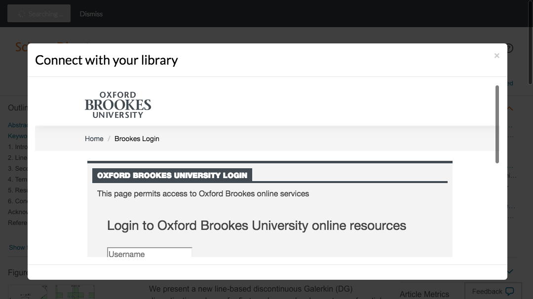 Enter Oxford Brookes University credentials to access journal subscriptions.