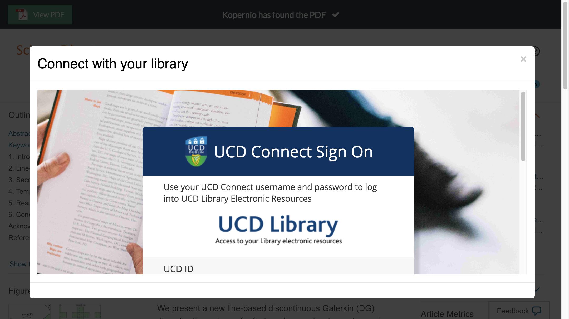 Enter University College Dublin credentials to access journal subscriptions.