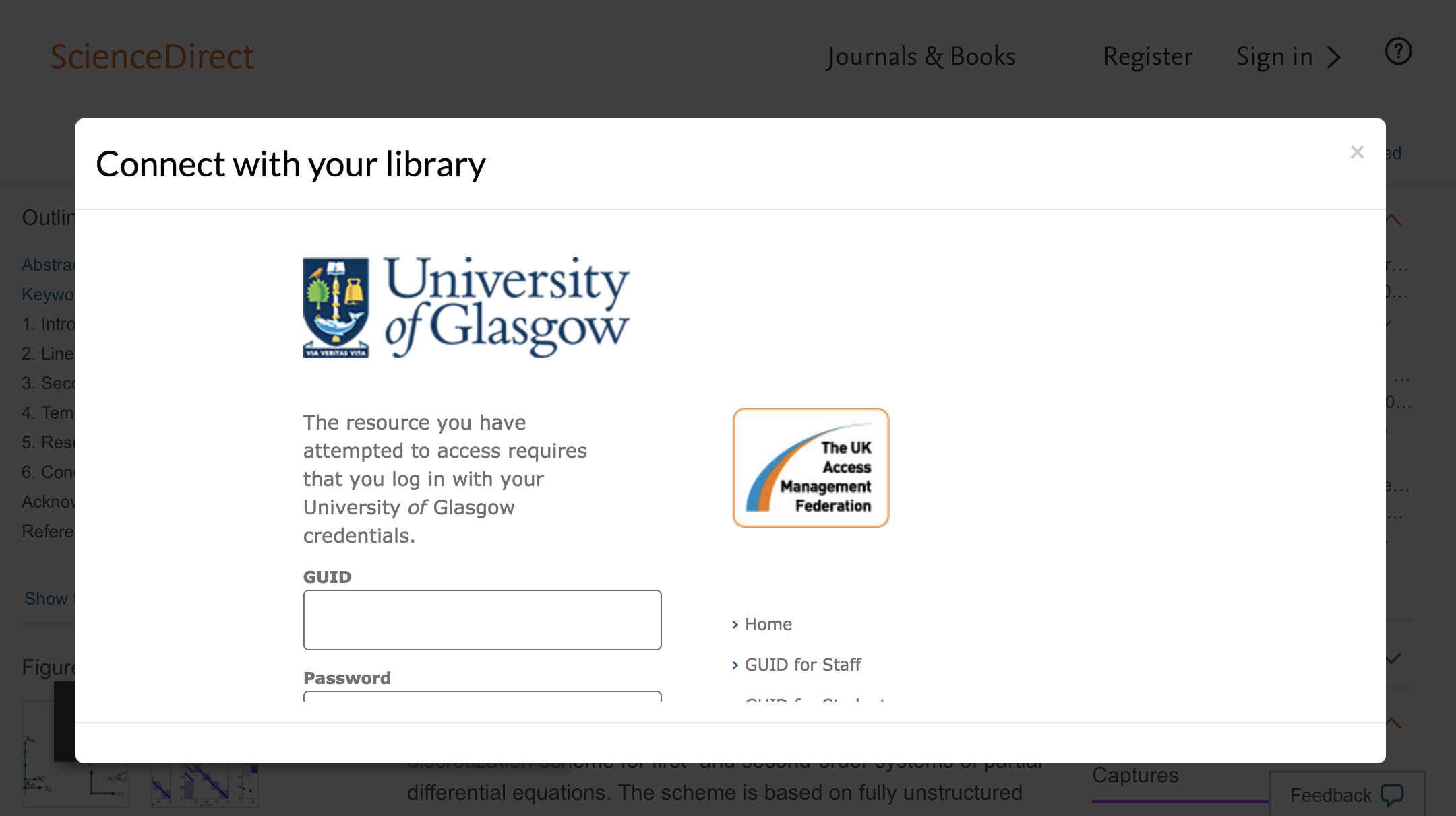 Enter University of Glasgow credentials to access journal subscriptions.