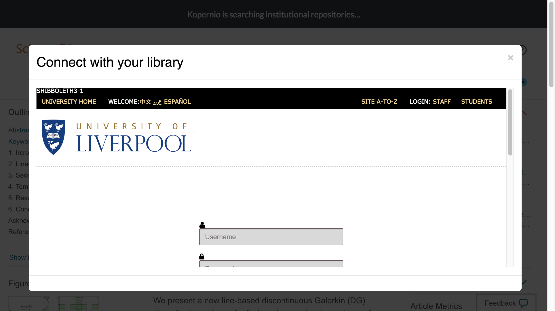 Enter University of Liverpool credentials to access journal subscriptions.
