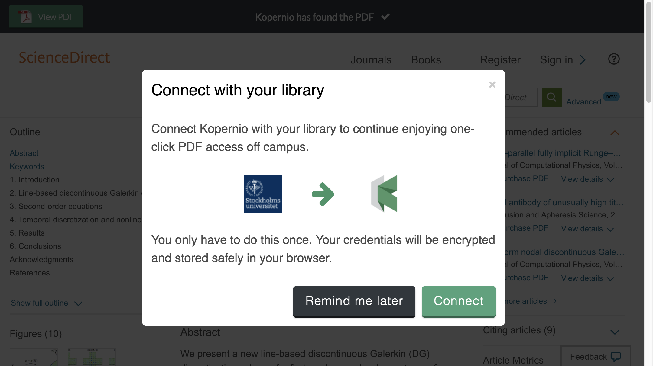 Connect to library prompt for off-campus access to Stockholm University e-resources.