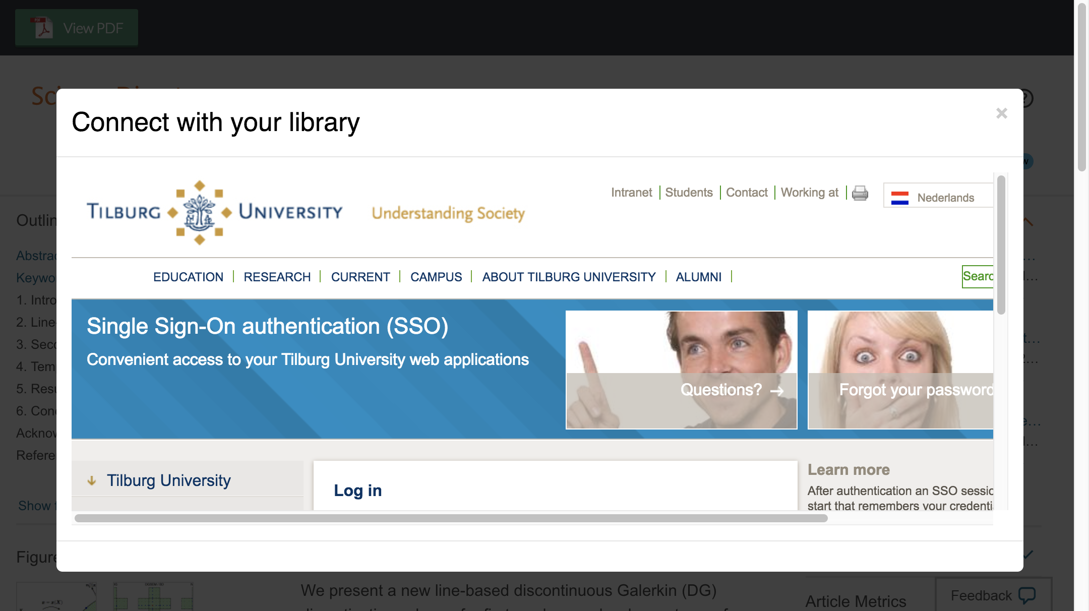Enter Tilburg University credentials to access journal subscriptions.