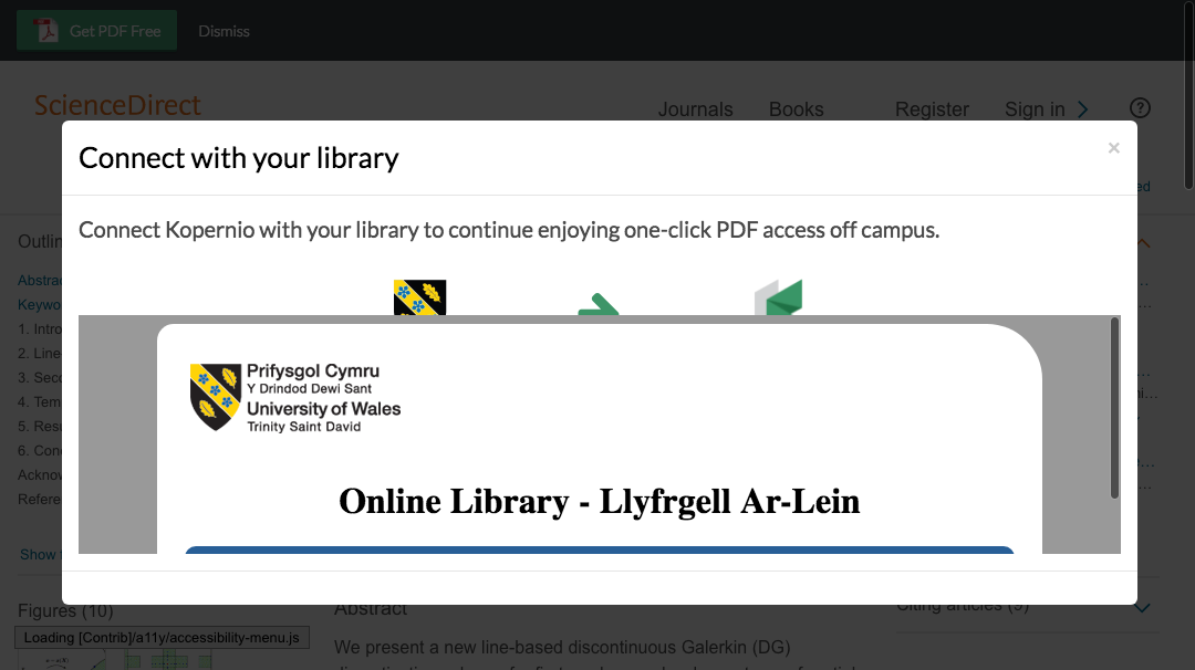 Connect to library prompt for off-campus access to University of Wales, Trinity Saint David e-resources.