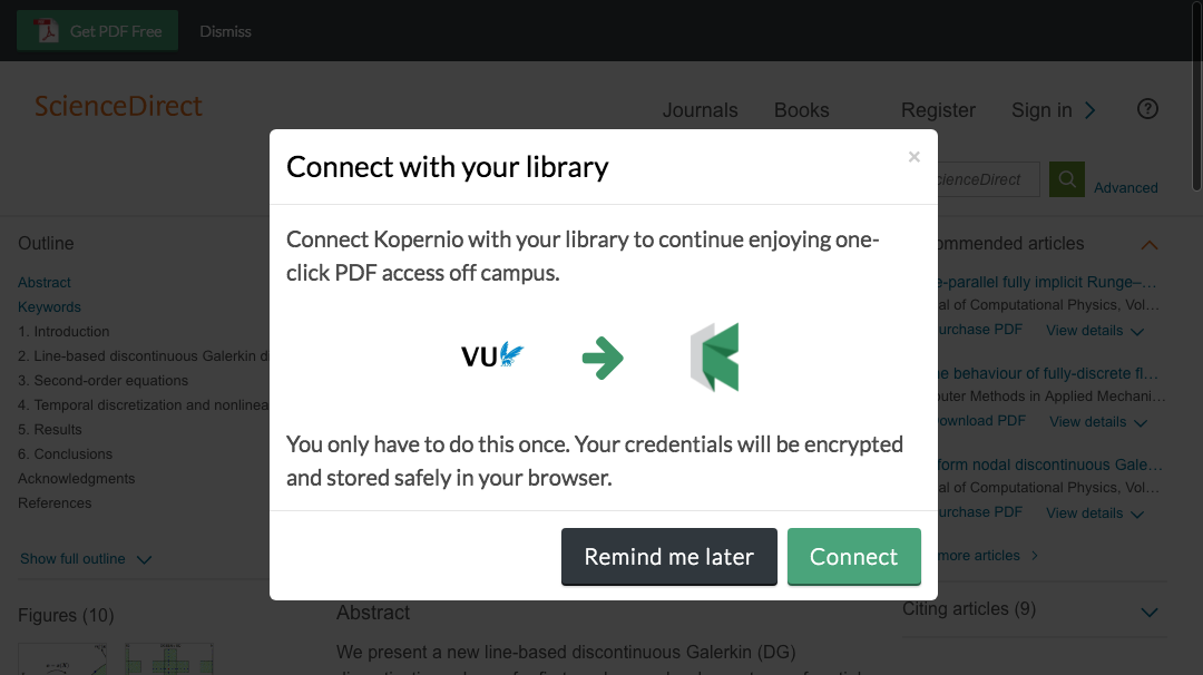 Connect to library prompt for off-campus access to VU University Amsterdam e-resources.