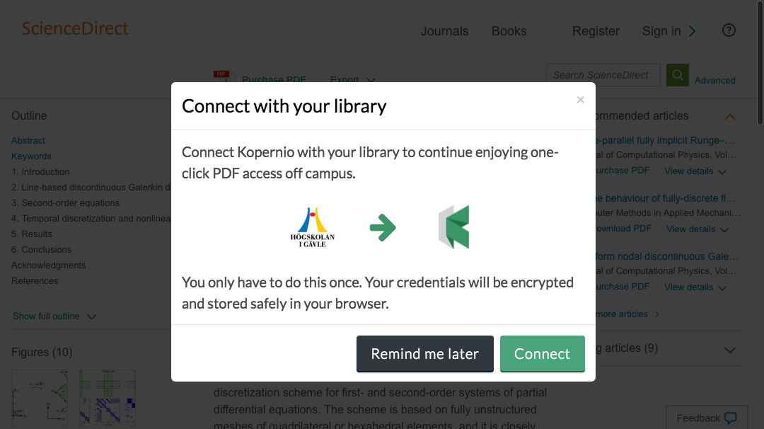 Connect to library prompt for off-campus access to University of Gaevle e-resources.