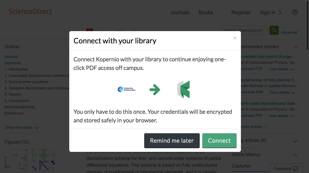 Connect to library prompt for off-campus access to University of Worcester e-resources.