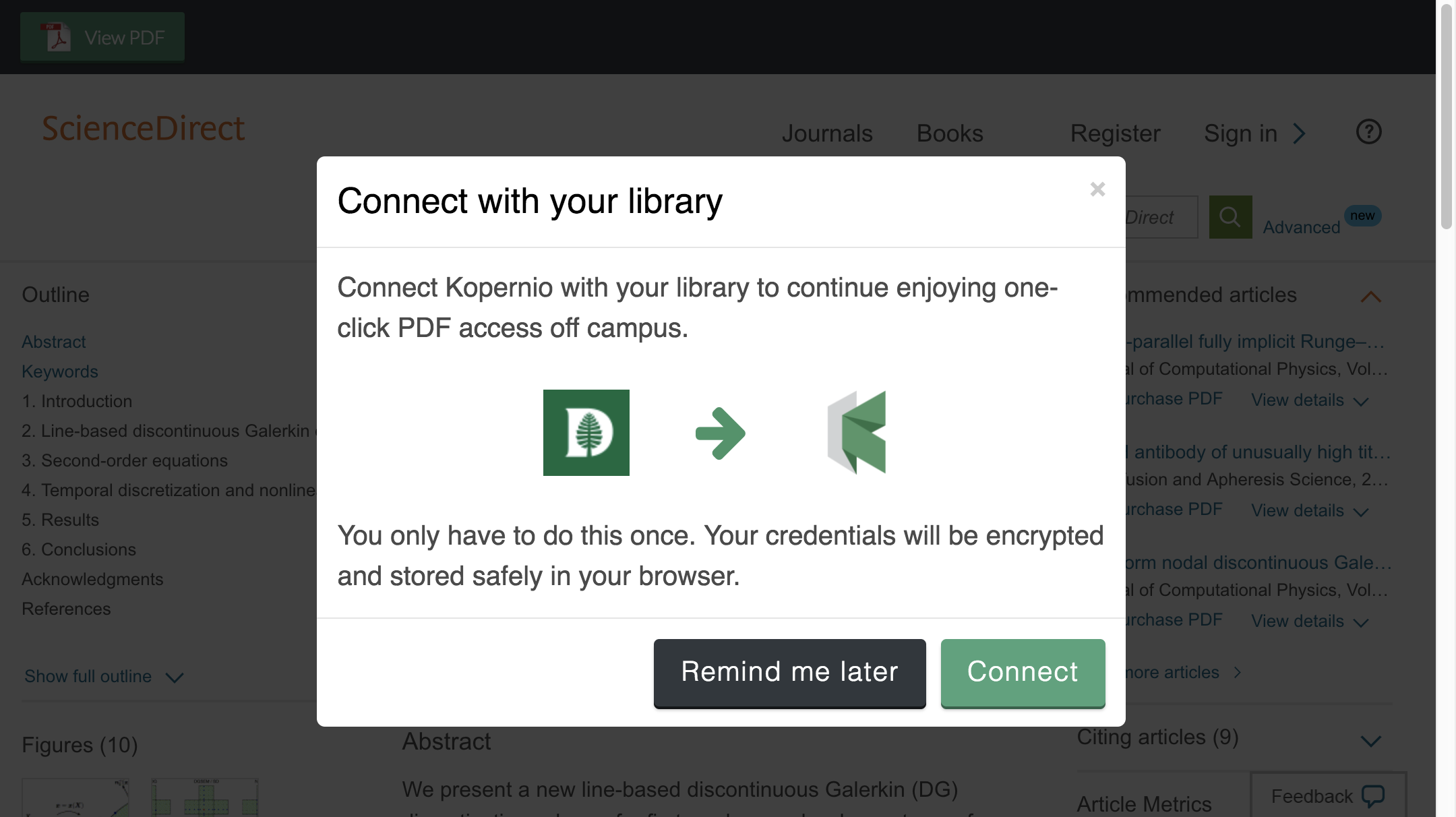 Connect to library prompt for off-campus access to Dartmouth College e-resources.
