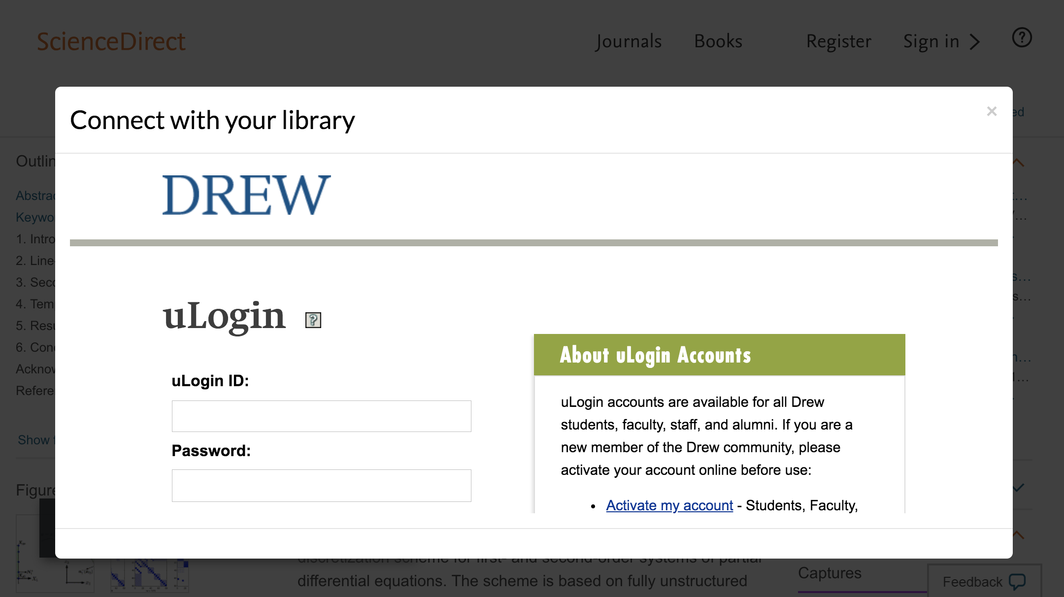 Enter Drew University credentials to access journal subscriptions.