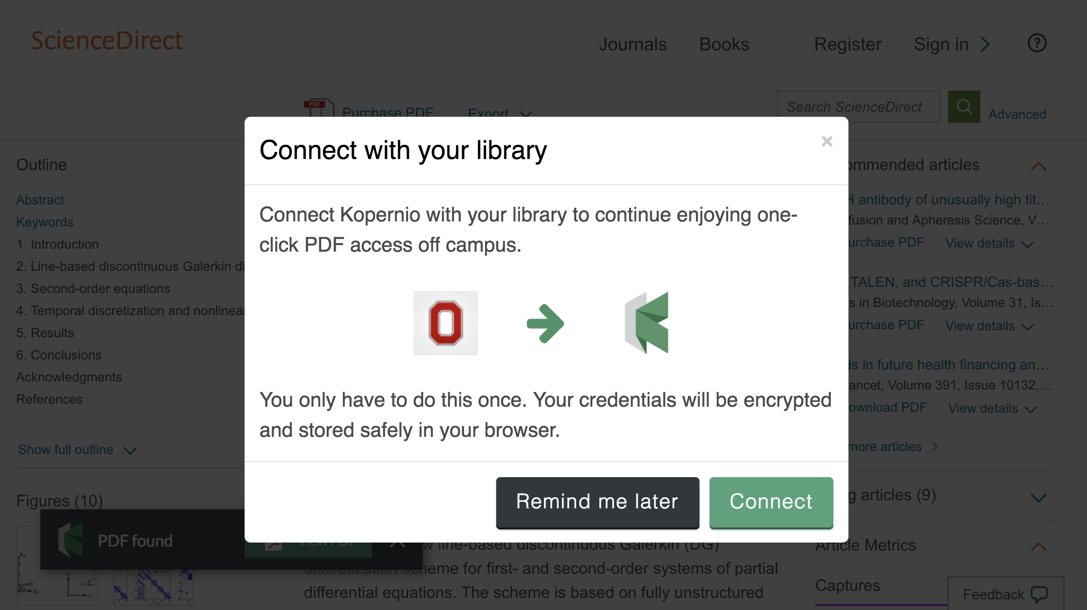 Connect to library prompt for off-campus access to Ohio State University e-resources.
