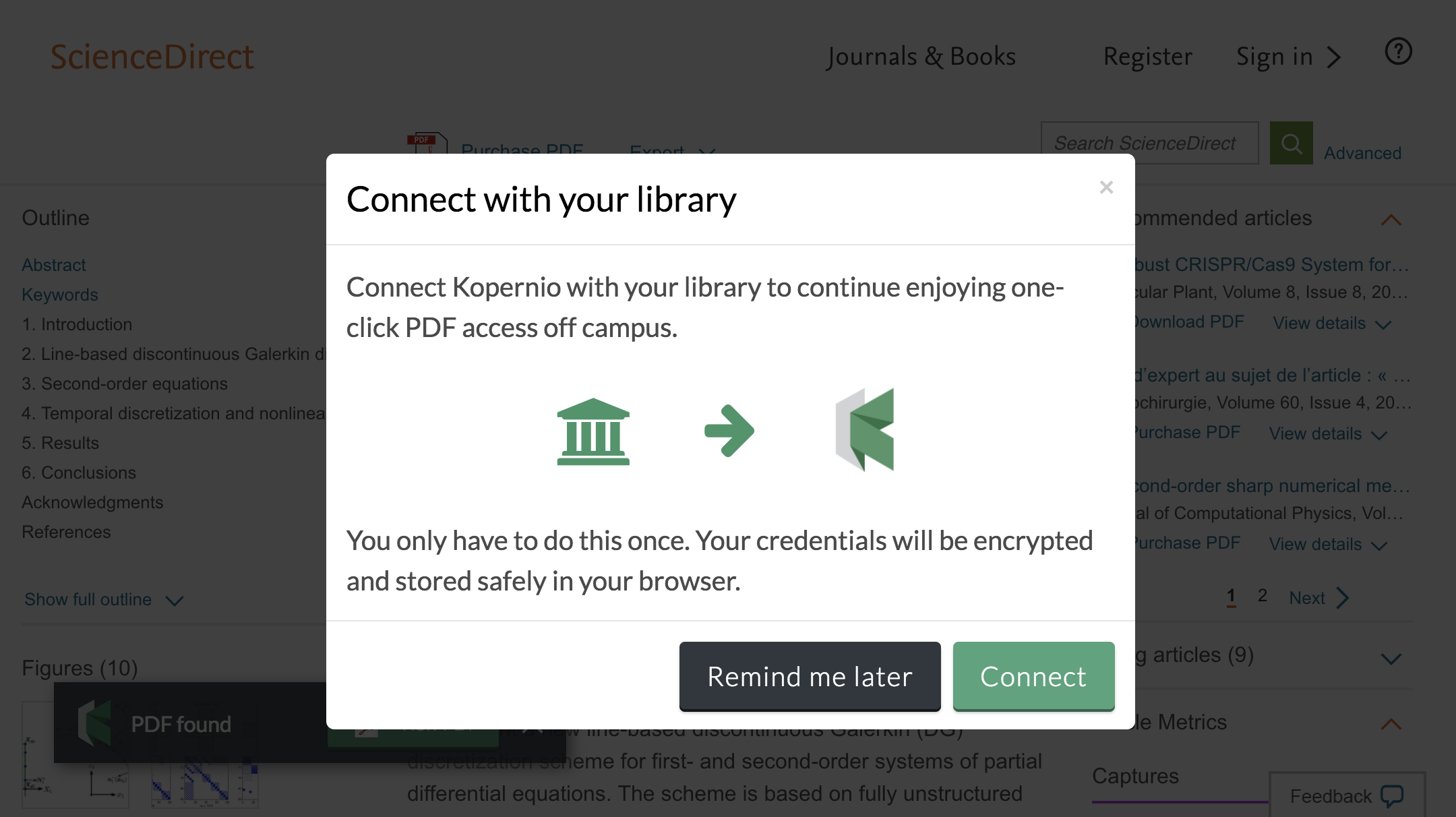 Connect to library prompt for off-campus access to South Dakota State University e-resources.