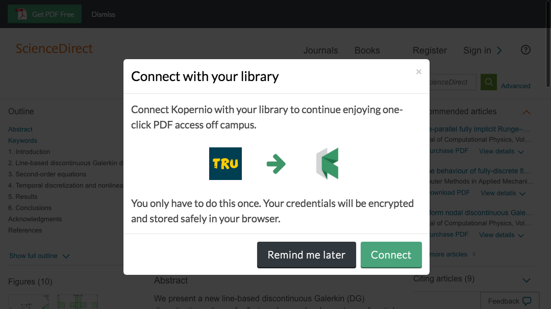 Connect to library prompt for off-campus access to Thompson Rivers University e-resources.