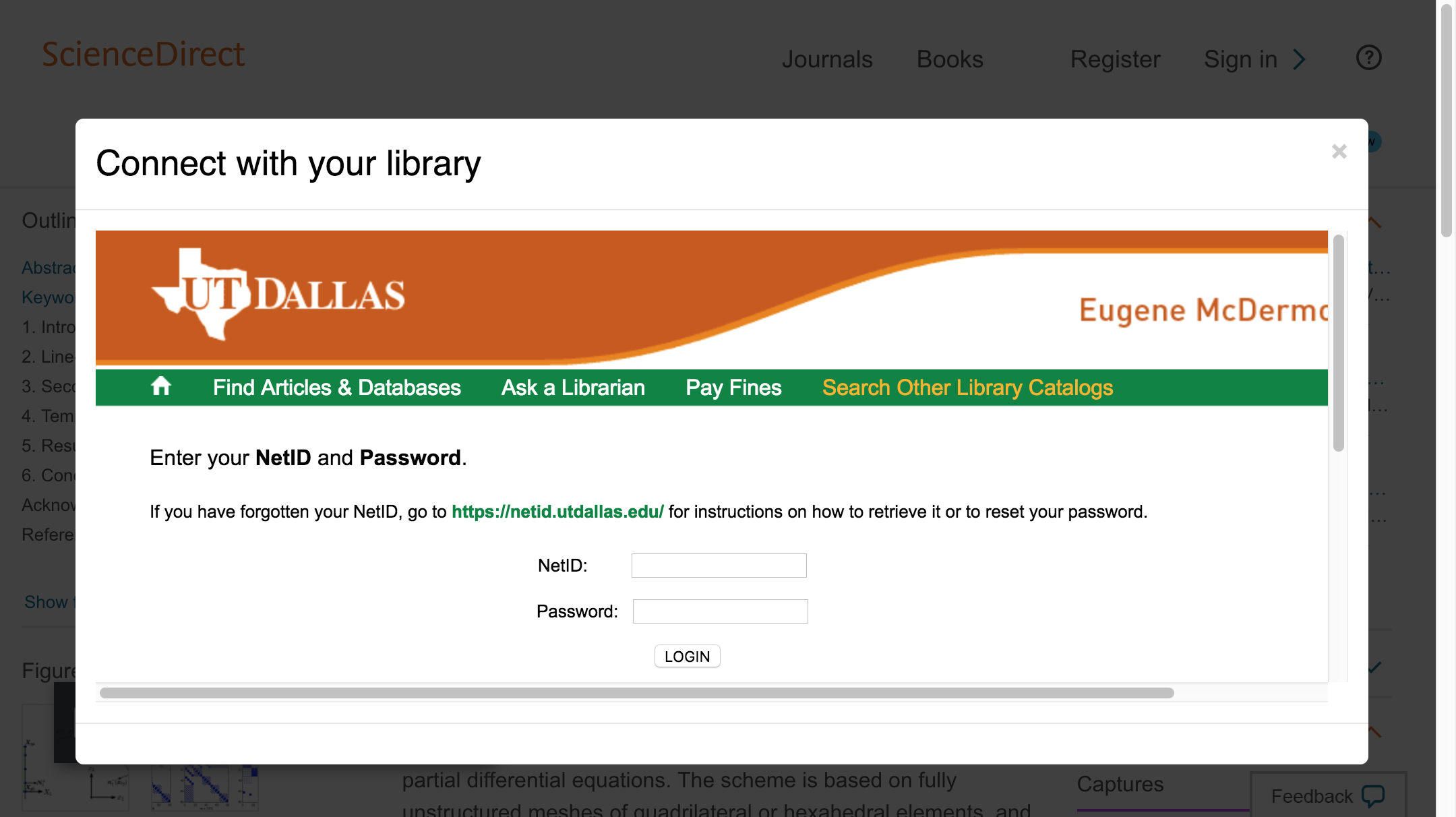 Enter University of Texas at Dallas credentials to access journal subscriptions.