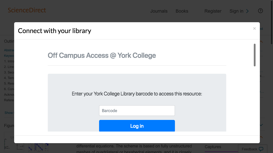 Enter York College, City University of New York credentials to access journal subscriptions.
