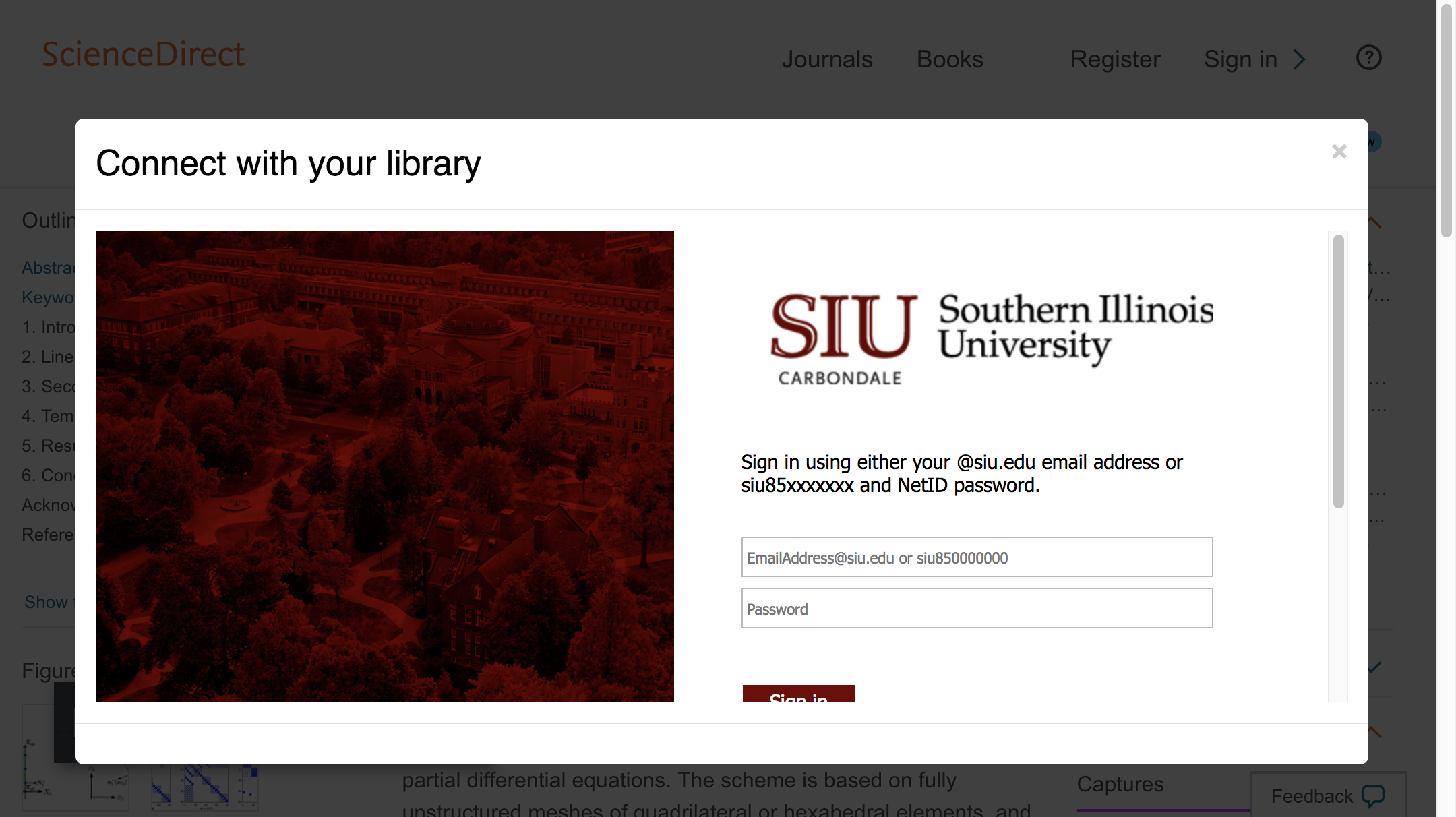Enter Southern Illinois University System credentials to access journal subscriptions.