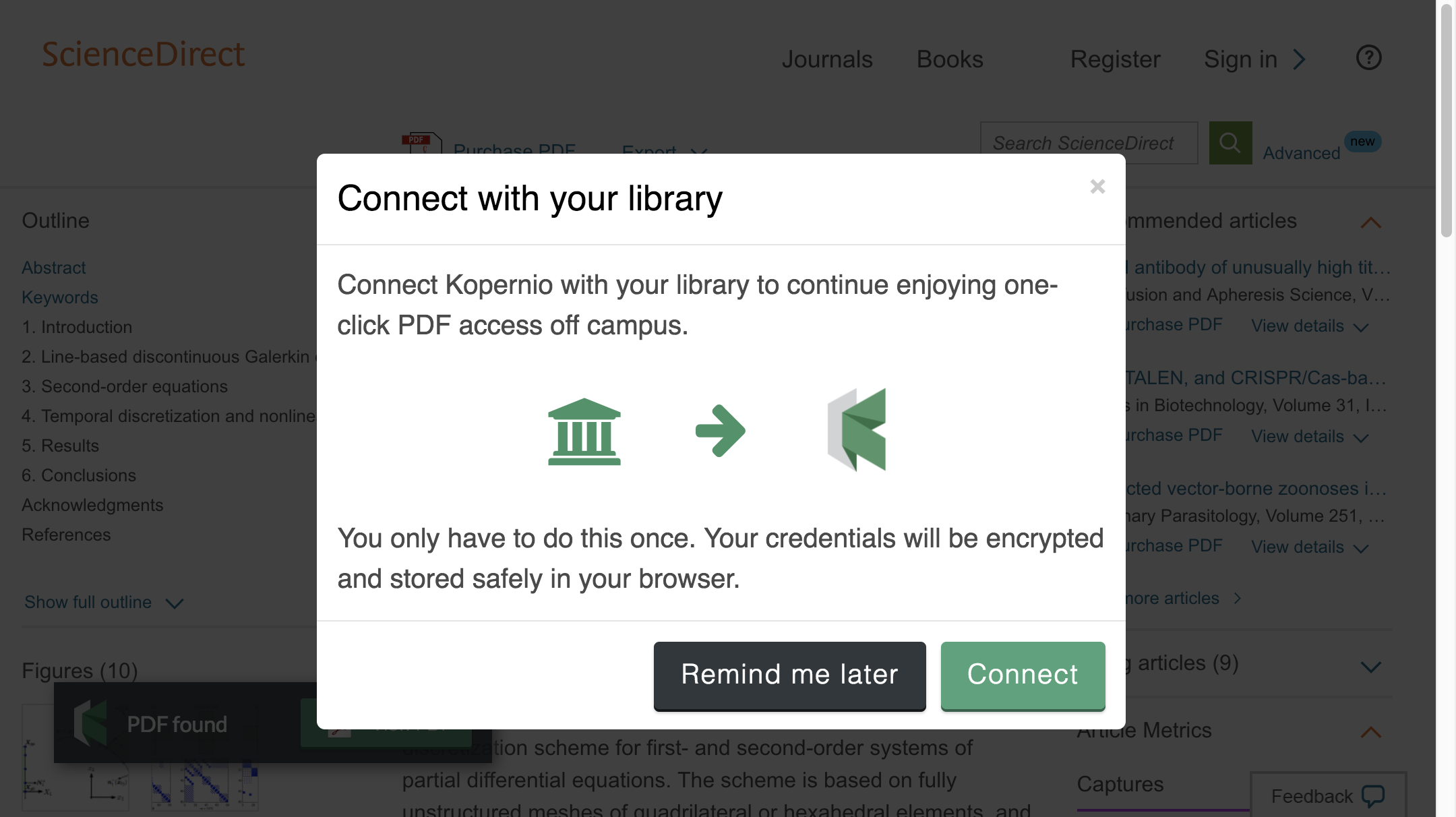 Connect to library prompt for off-campus access to Southern Illinois University System e-resources.