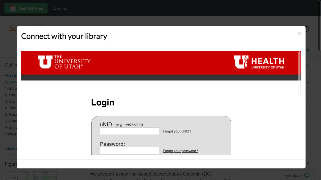 Enter University of Utah Health Care credentials to access journal subscriptions.