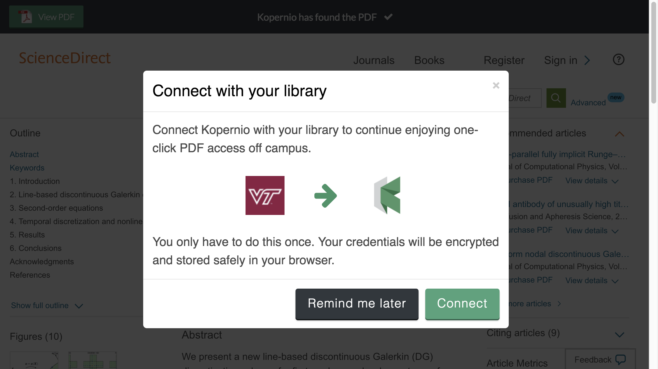 Connect to library prompt for off-campus access to Virginia Tech e-resources.