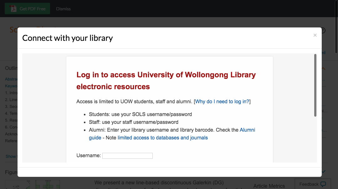 Enter University of Wollongong credentials to access journal subscriptions.
