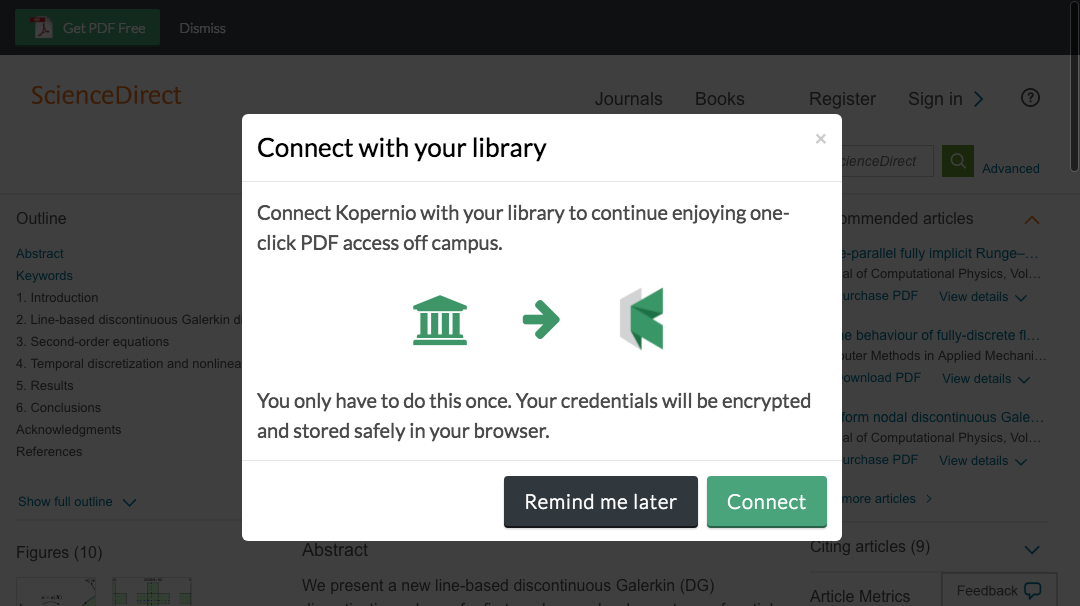 Connect to library prompt for off-campus access to University of New England e-resources.