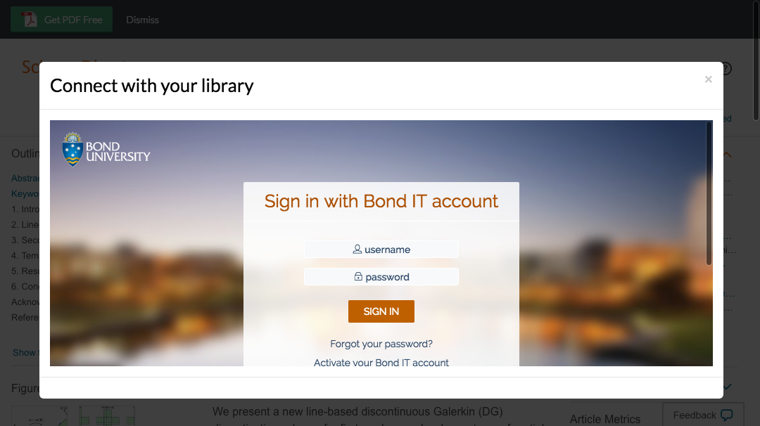 Enter Bond University credentials to access journal subscriptions.