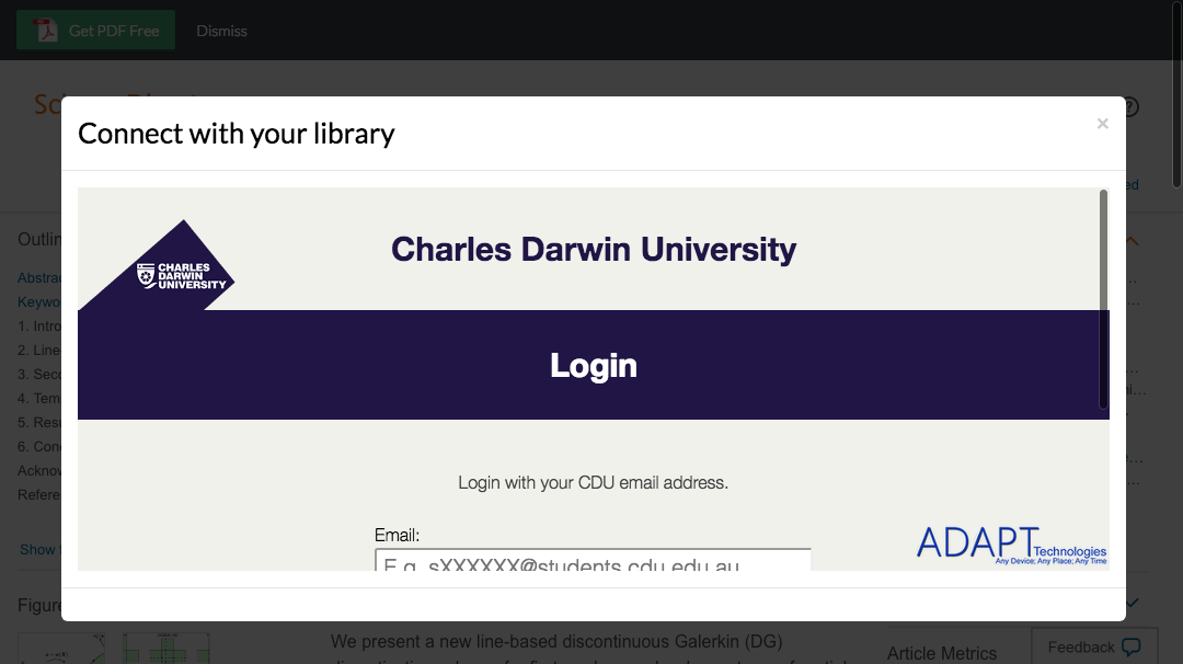 Enter Charles Darwin University credentials to access journal subscriptions.