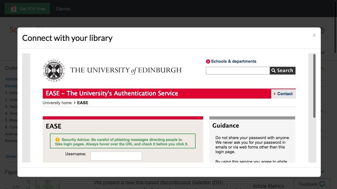 Enter University of Edinburgh credentials to access journal subscriptions.