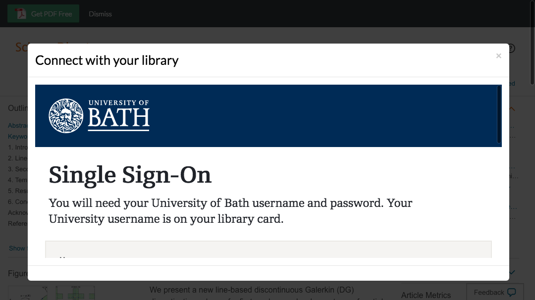 Enter University of Bath credentials to access journal subscriptions.