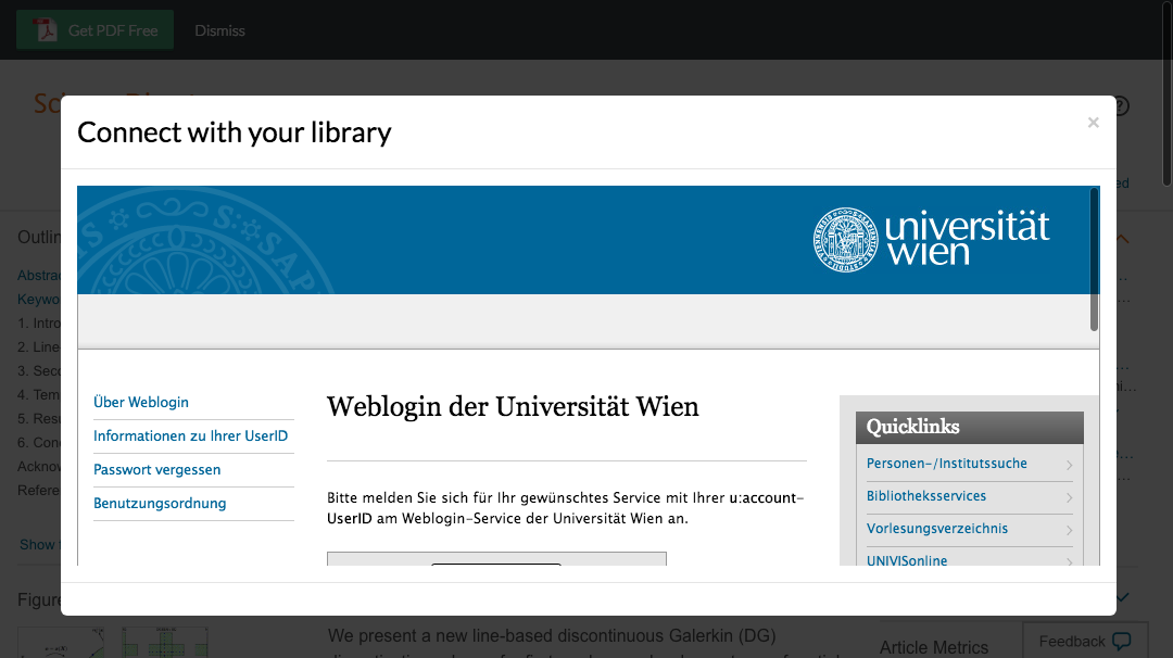Enter University of Vienna credentials to access journal subscriptions.