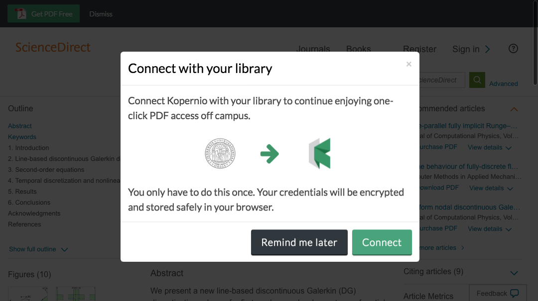 Connect to library prompt for off-campus access to University of Vienna e-resources.
