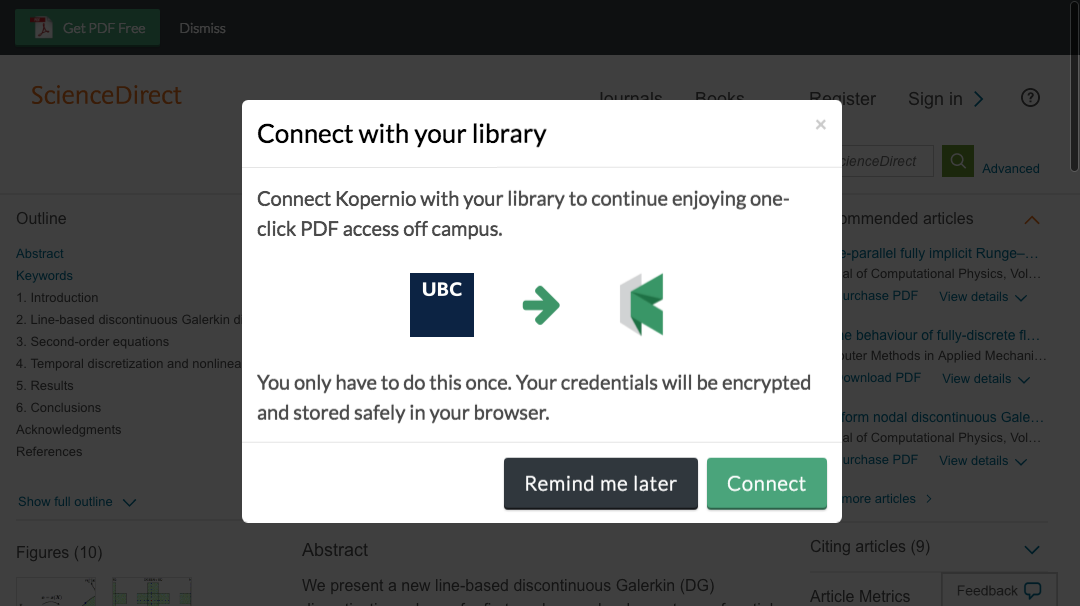 Connect to library prompt for off-campus access to University of British Columbia e-resources.
