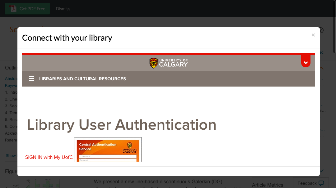 Enter University of Calgary credentials to access journal subscriptions.