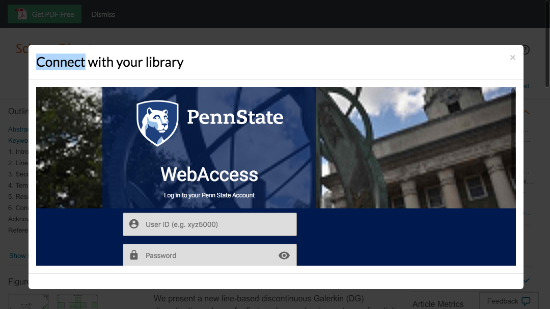 Enter Pennsylvania State University credentials to access journal subscriptions.