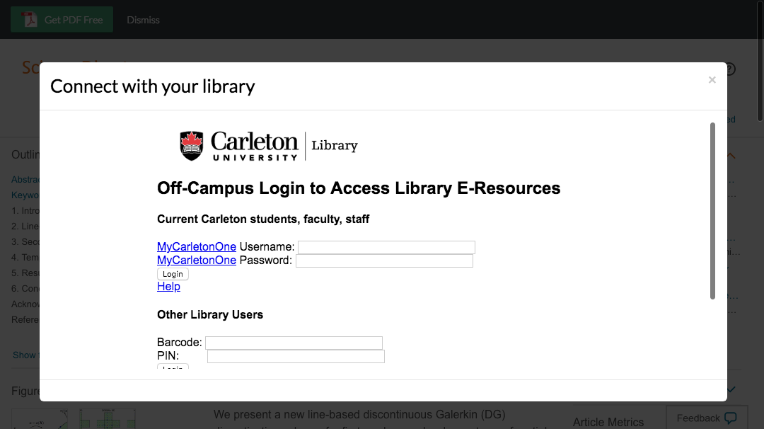 Enter Carleton University credentials to access journal subscriptions.