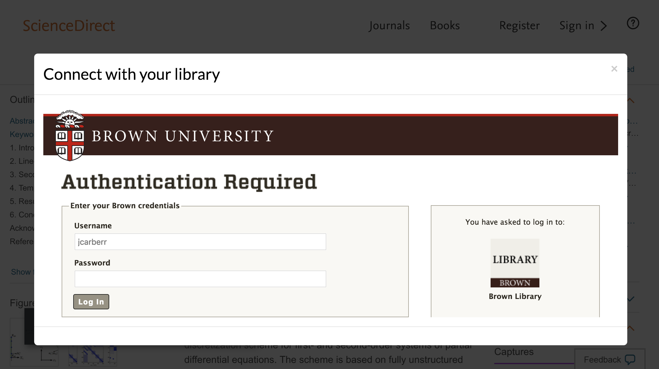 Enter Brown University credentials to access journal subscriptions.