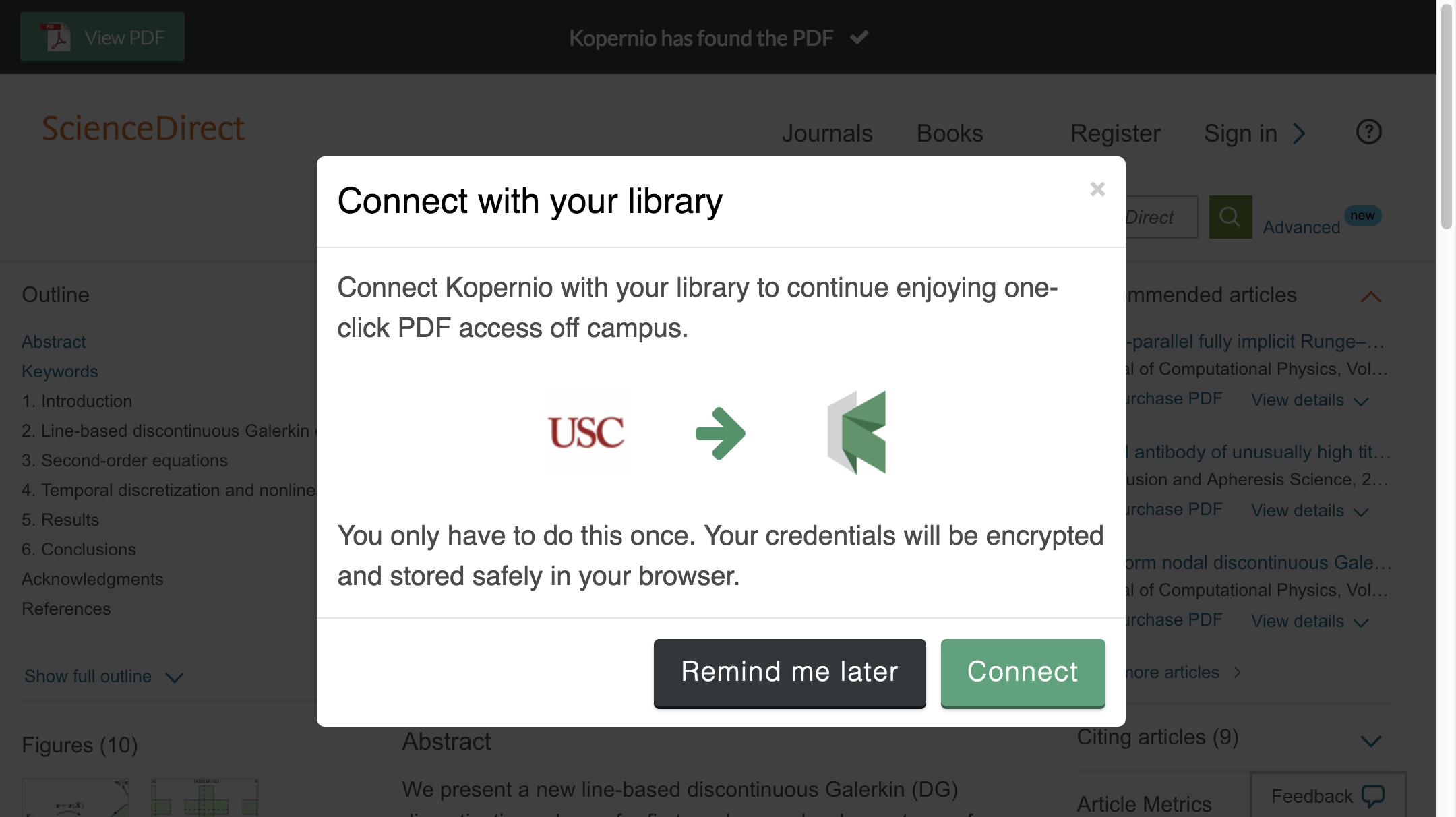 Connect to library prompt for off-campus access to University of Southern California e-resources.