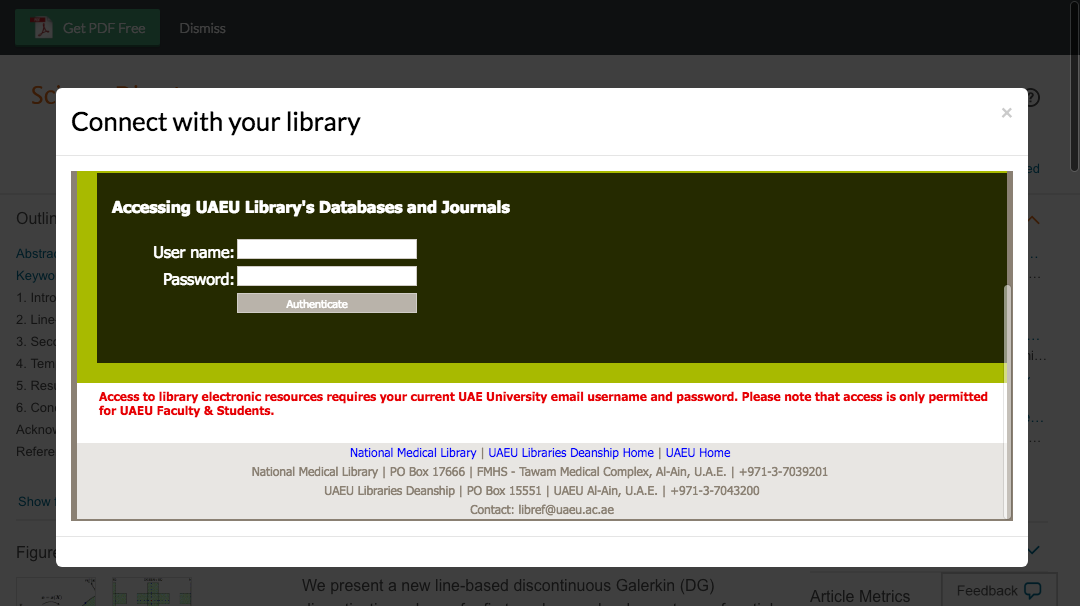 Enter United Arab Emirates University credentials to access journal subscriptions.
