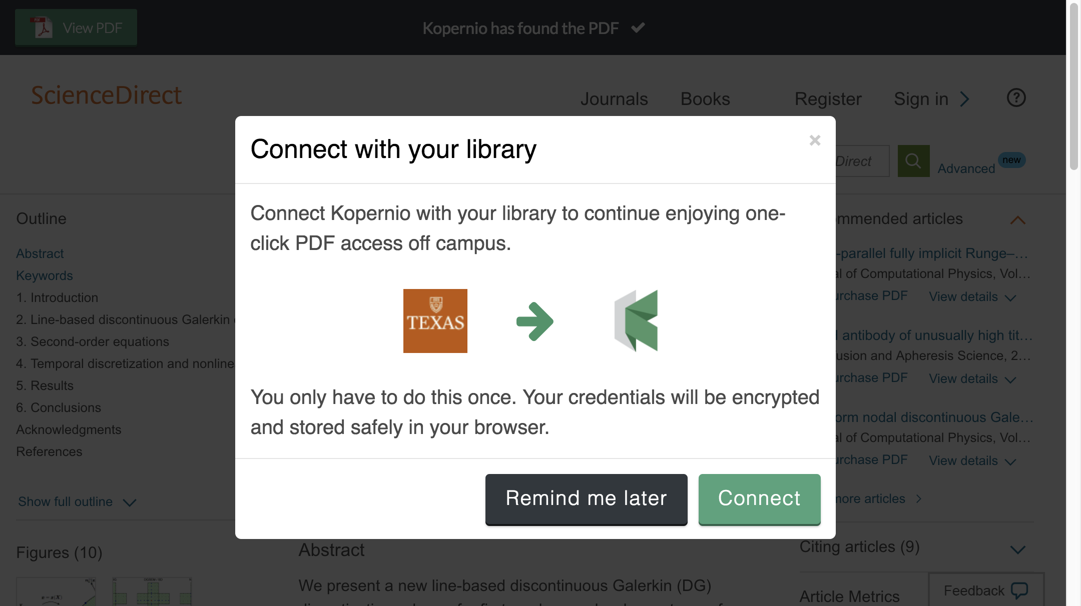 Connect to library prompt for off-campus access to University of Texas at Austin e-resources.