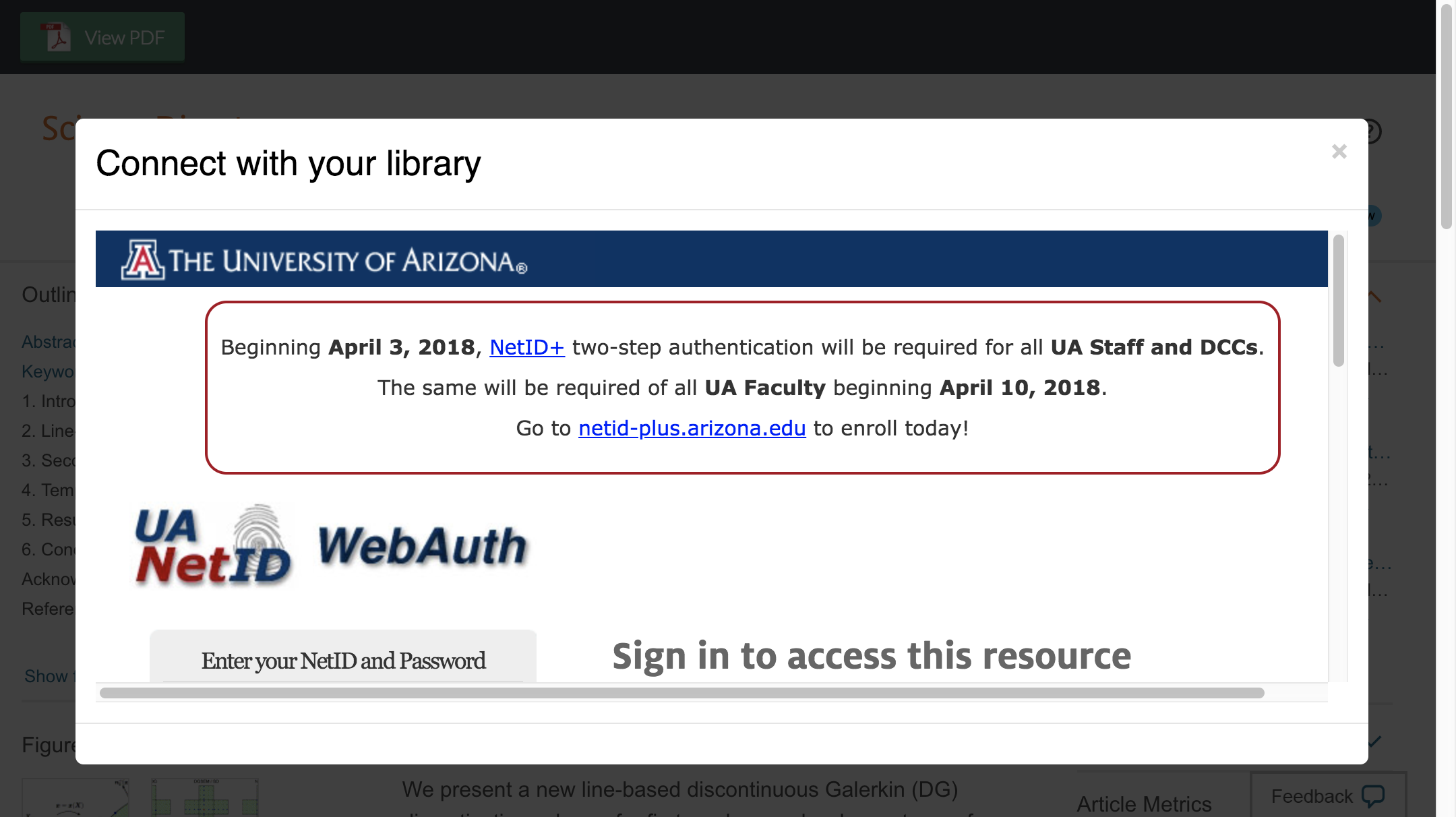 Enter University of Arizona credentials to access journal subscriptions.
