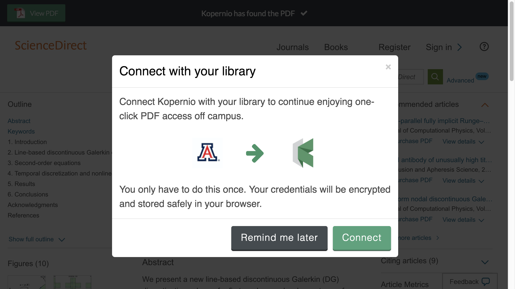 Connect to library prompt for off-campus access to University of Arizona e-resources.