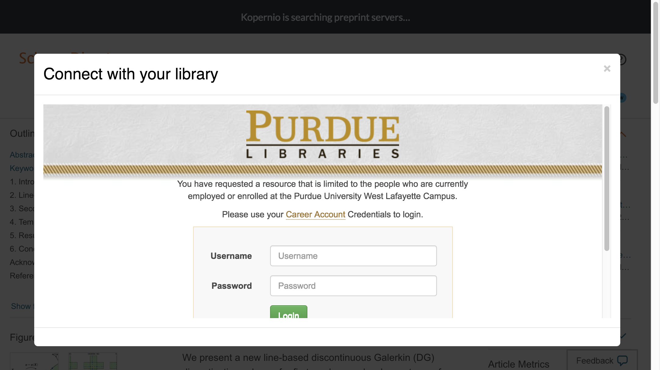 Enter Purdue University credentials to access journal subscriptions.