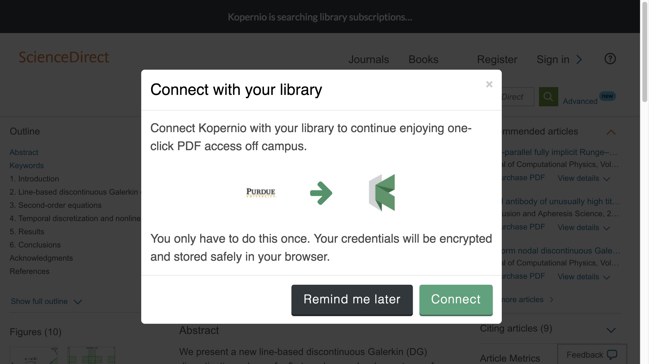 Connect to library prompt for off-campus access to Purdue University e-resources.