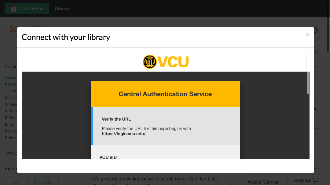 Enter Virginia Commonwealth University credentials to access journal subscriptions.