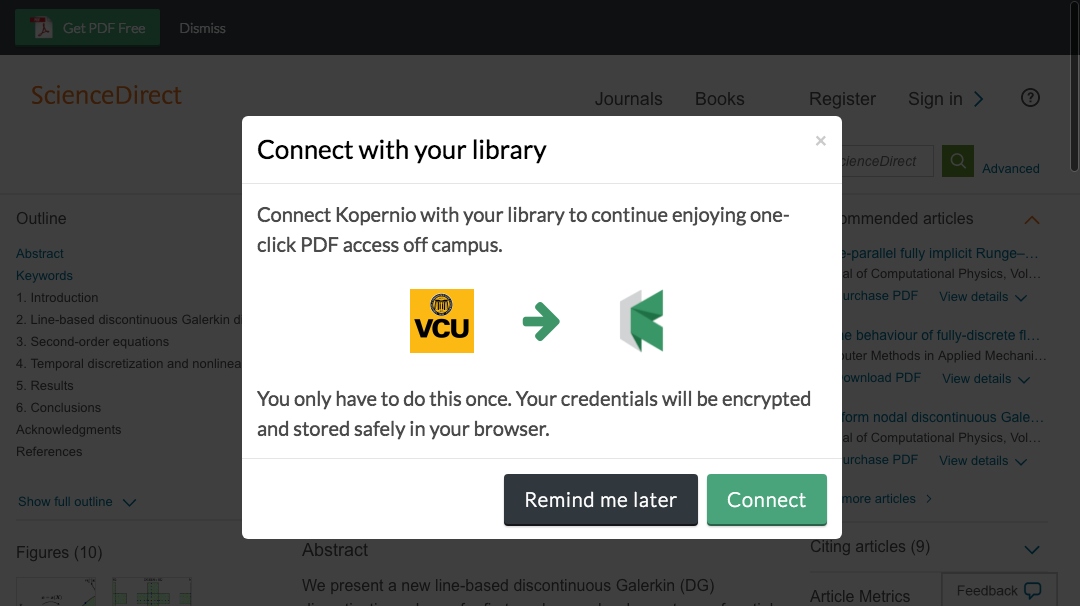 Connect to library prompt for off-campus access to Virginia Commonwealth University e-resources.