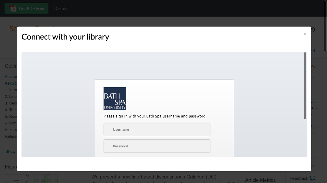 Enter Bath Spa University credentials to access journal subscriptions.