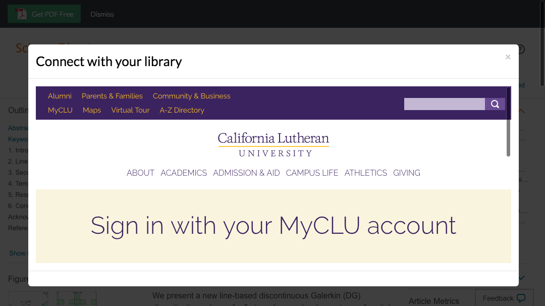 Enter California Lutheran University credentials to access journal subscriptions.