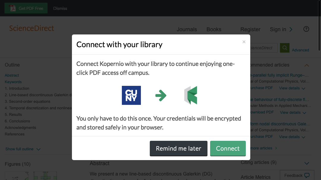 Connect to library prompt for off-campus access to College of Staten Island e-resources.
