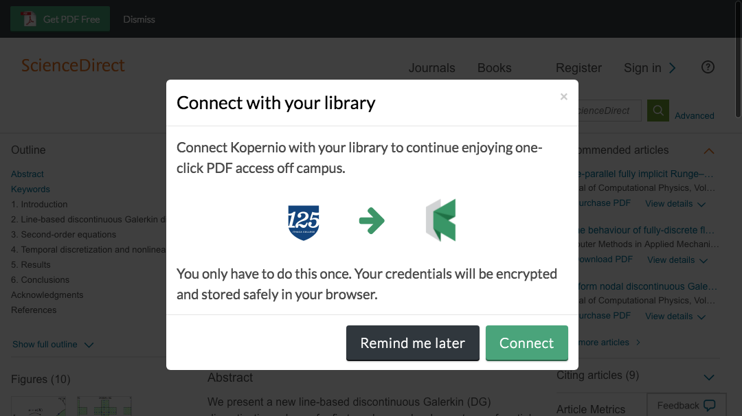 Connect to library prompt for off-campus access to Ithaca College e-resources.