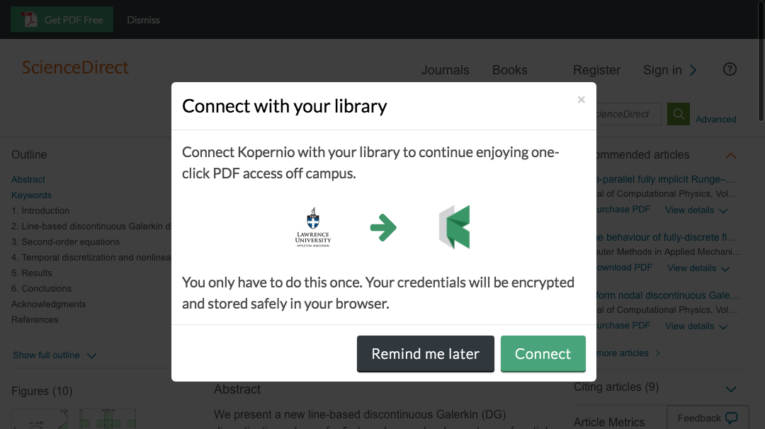 Connect to library prompt for off-campus access to Lawrence University e-resources.
